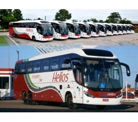 Fotografia registra 12 ônibus trucados zero quilometro que foram inseridos à frota da empresa Helios em março de 2016. A fotografia retrata todos os veículos, lado a lado, de forma regressiva do prefixo n° 408 ao prefixo n° 386.  Os 12 veículos possuem as seguintes configurações: 6 ônibus  com chassis Volvo B420-R e outros 6 ônibus com chassis Mercedes Bens O-500RSD. Porém, todos com carroceria Mascarello modelo Roma R8. Todos os veículos forma pintados com o layout tradicional do empresa Helios, melhor descrevendo: pintura predominante na cor branca e três faixas longitudinais em formato de onda nas cores prata, verde e vermelho. A grade dianteira é e a traseira são integralmente vermelhas. Acima da cabine do motorista há um vidro fixo com a finalidade de teto solar que dá um ar mais moderno ao design do veículo.