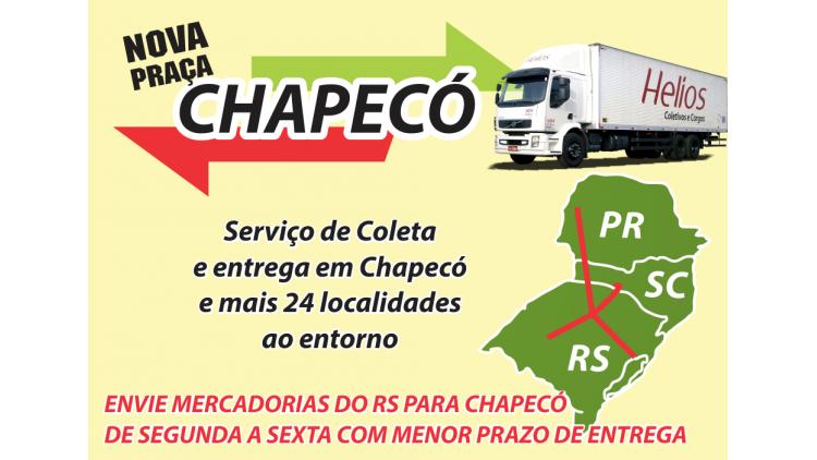 O setor de encomendas da empresa passa a atender a praça de Chapecó e mais 23 cidades de Santa Catarina no menor prazo oferecido entre as transportadoras em relação ao mercado do Rio Grande do Sul. Coletas e entregas em dias úteis. Faça uma cotação, utilize nosso transporte e surpreenda seus clientes.