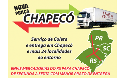 Imagem de um banner informativo dos serviços da empresa Helios, contendo um caminhão da empresa, o mapa da região sul do Brasil, e as informações de atendimento à praça de Chapecó/SC.