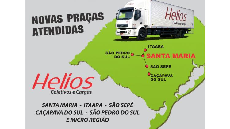 Através de uma nova parceria firmada com empresários do ramo de coletas e entregas de mercadorias a Helios atenderá de forma eficiente e com prazo médio de um dia útil (coletas e entregas no Rio Grande do Sul) a cidade de Santa Maria/RS e algumas outras cidades vizinhas, como São Sepé e São Pedro. Trata-se de mais uma avanço estratégico no desenvolvimento do setor de transporte de encomendas, com a certeza de que será prestado um ótimo serviço aos clientes da empresa.