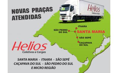 Banner contendo um caminhão da empresa, o mapa do Rio Grande do Sul colocando em destaque a cidade de Santa Maria.