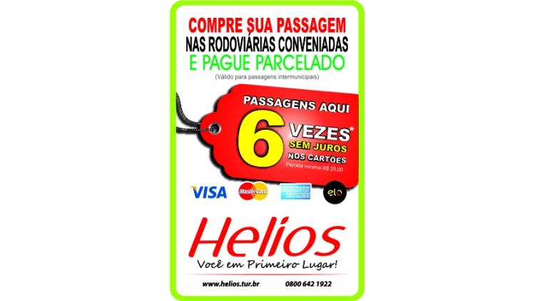 A Helios firmou convênio com empresas operadoras de cartão de crédito a fim de possibilitar que seus clientes adquiram passagens nas estações rodoviárias de Erechim, Passo Fundo, Carazinho, Tapera, Espumoso, Cruz Alta e Santa Maria e paguem em até 6 parcelas, com mínimo de R$ 25,00.